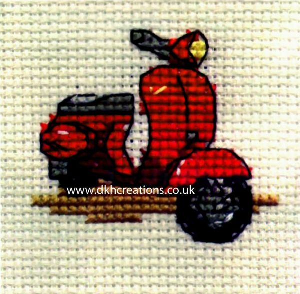 Red Scooter Cross Stitch Kit